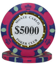50pcs 14g Monte Carlo Poker Club Casino Poker Chips $5000