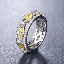 Fashion 925 Silver Marquise Cut Citrine Jewelry Women Wedding Ring Size 7