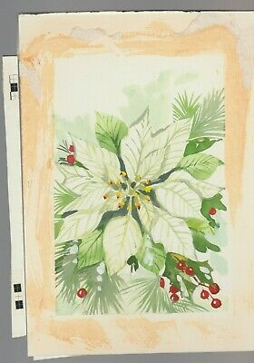"""White Poinsettia With Berries 10x7.5"""" #731 Christmas Greeting Card Art Strong Packing Collectibles Other Original Comic Art"""