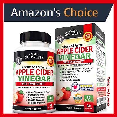 Bio Schwartz Apple Cider Vinegar Capsules Acv Pills W Synergyfit Weight Loss Ebay
