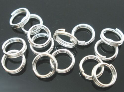 5 8mm Silver Plated Double Loop Split Rings 100 x 10  12 14 16mm 7 6 200 x 4