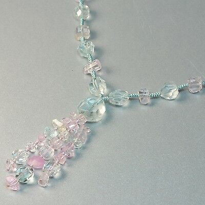Multi Color Aquamarine Kunzite Nuggets Beads 26-33.5 inch Lariat Necklace