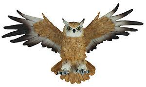 Dekofigur-Wanddeko-Eule-fliegend-Uhu-Greifvogel-Gartenfigur-Tierfigur-Wohnung-Vo