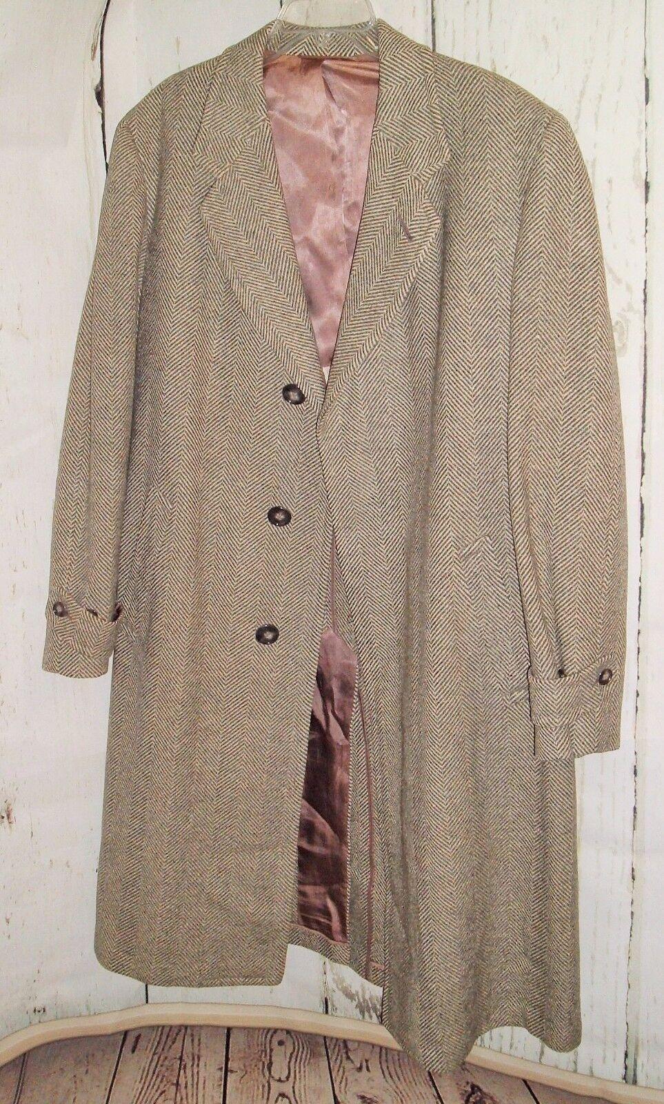 HART SCHAFFNER MARX Vtg Australian Wool Herringbone Union Made Coat Austrol-Down