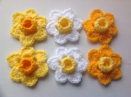 Yellow//White 6xNew Crochet Spring Flowers Applique Embellishment Daffodils