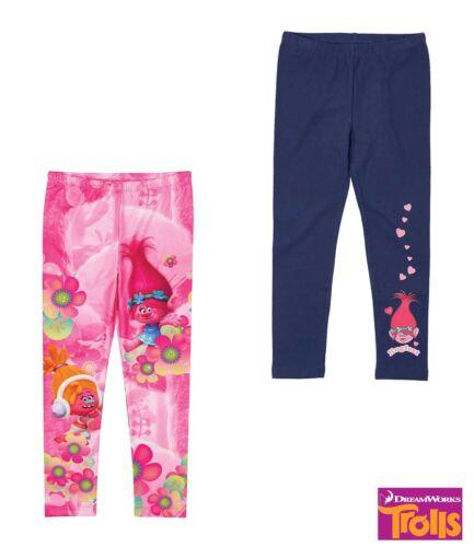 NUOVO Leggings Ragazza Pantaloni Sportivi Pantaloni Legging i TROLLS Rosa Blu 98-152 #710