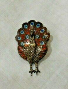 Vintage-Sterling-Silver-amp-Enamel-Peacock-Pin-or-Brooch