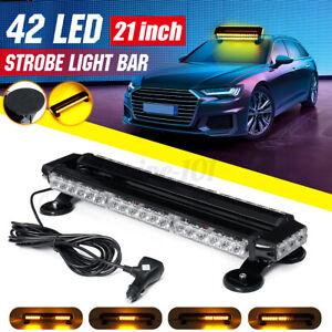 42LED-Magnet-Auto-Warnleuchte-Blitzlicht-Notfall-Blinker-Amber-53cm-12V-42W-DE