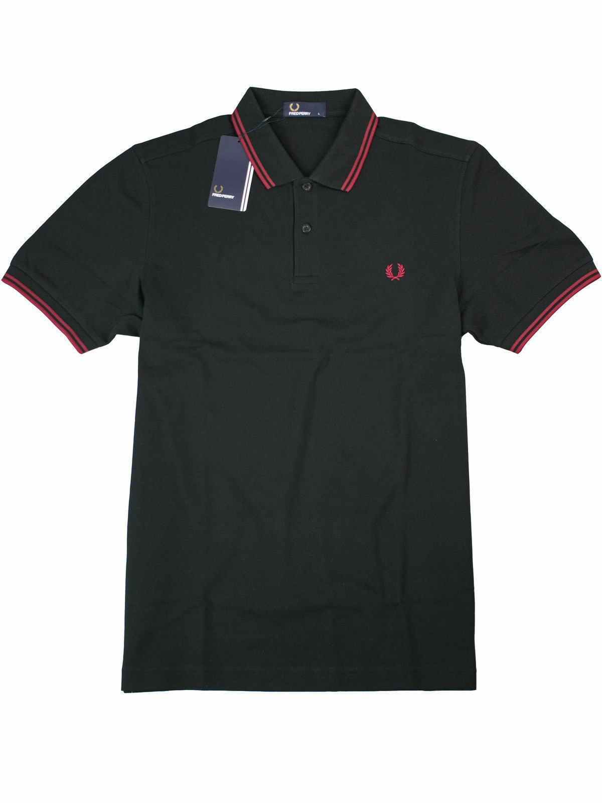 Fred Perry Polo Shirt Poloshirt M3600 F24 black   red Piquee  7339
