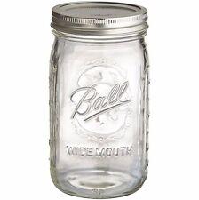 4 Ball Wide Mouth Jam Mason Jars 945ml Glass Jar, Lids, Canning, Vintage