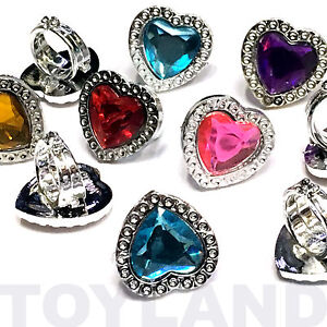 12 x GIRLS GEM SPARKLE RINGS FUN TOY JEWELLERY PRETTY BIRTHDAY PARTY BAG FILLERS