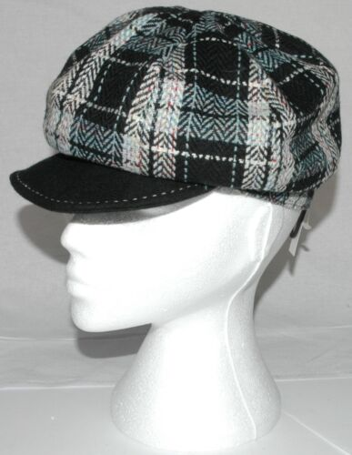 Ladies Wool Mix Flat Cap 8 Panel Grey Check Gatsby Hat Choice of Sizes A003.24