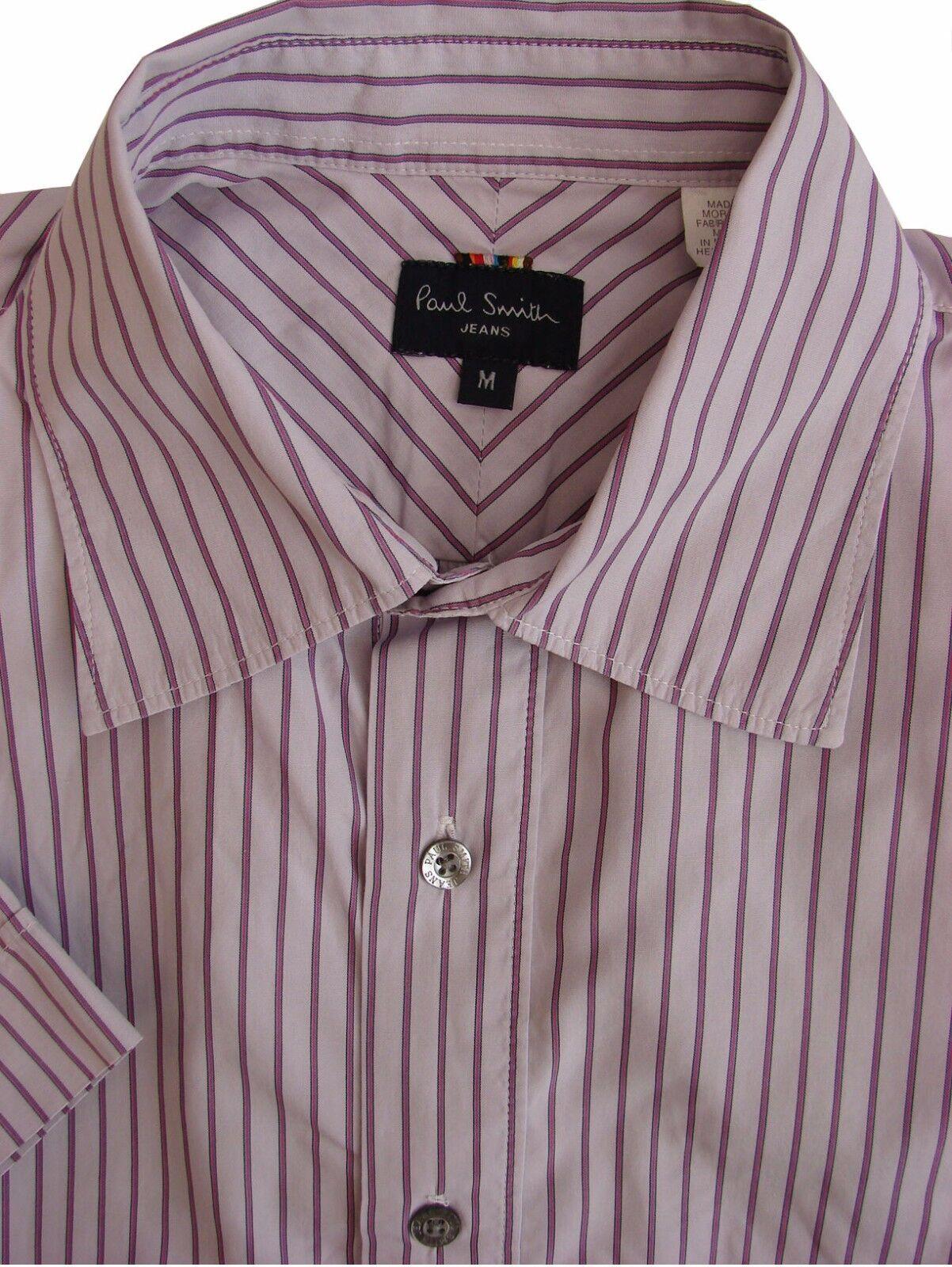PAUL SMITH Shirt Mens 15.5 M purplec – Fuchsia Stripes SHORT SLEEVE
