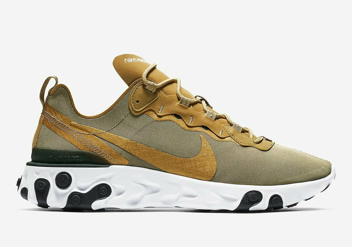 Nike React Element 55 Metallic gold White Black Mens shoes BQ6166-700