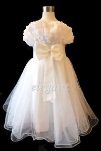White-Rosette-Pageant-Wedding-Flower-Girls-Dress-Gown-Size-3-12-Age-2-13-T