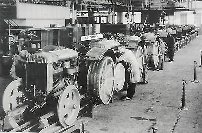 """Ford Tractor 9N assembly Line 12X18"""" Black & White Picture"""