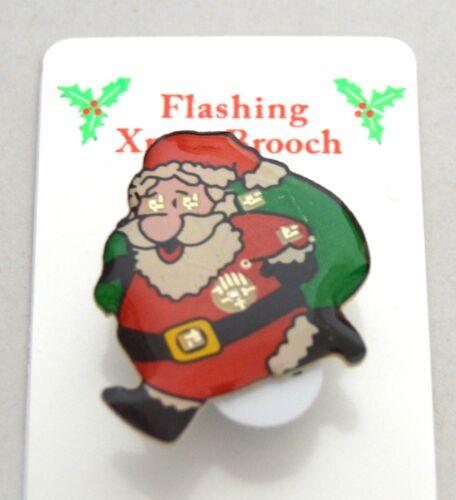 Nuevo Intermitente Navidad Santa y saco Broche Bisutería Festivo Navidad
