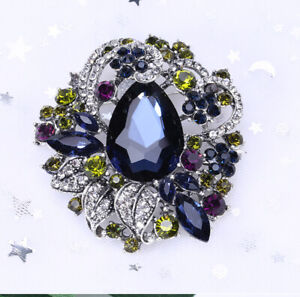 Betsey-Johnson-Blue-Crystal-Rhinestone-Flower-Charm-Women-039-s-Party-Brooch-Pin