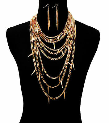 Gold DANGLING SPIKES MULTI-CHAIN DRAPE Statement Necklace & Earrings SET