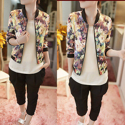 Vintage Women Blouse Stand Collar Long Sleeve Zipper Floral Bomber Jacket Hot
