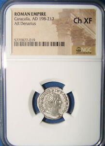 NGC XF AD 198-217 Roman Silver Denarius of Caracalla