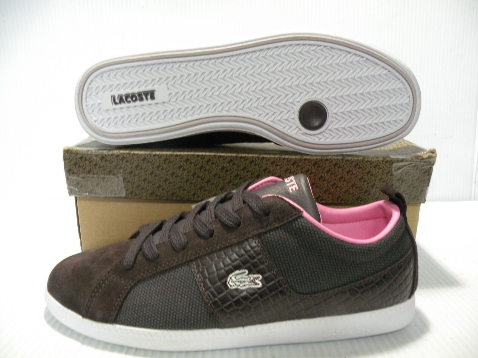 LACOSTE OBSERVE CROC CANVAS SNEAKERS Donna Scarpe BROWN 714STW6875-K55 SZ 10 NEW