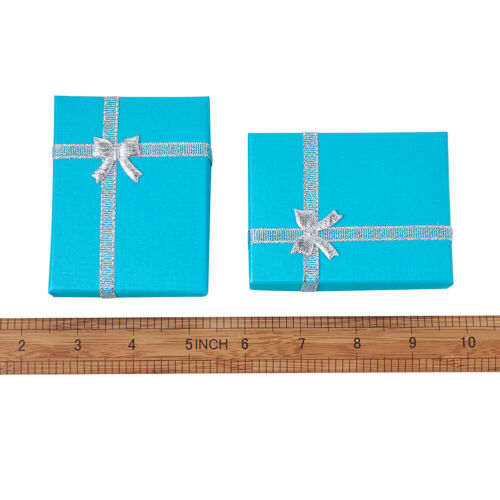 12 pcs Rectangle DeepSkyBlue Cardboard Pendant Necklaces Gift Boxes 90x70x30mm