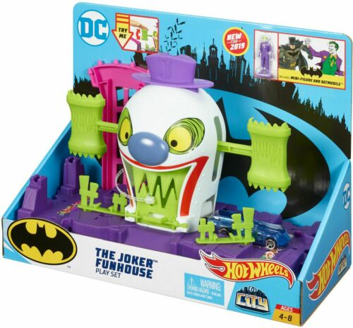 Hot Wheels Batman DC The Joker Funhouse Playset Mini-Figure /& Batmobile GBW50