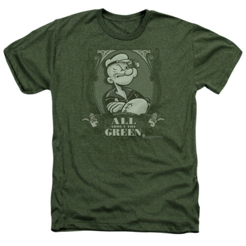 Popeye ALL ABOUT THE GREEN Licensed Adult Heather T-Shirt All Sizes