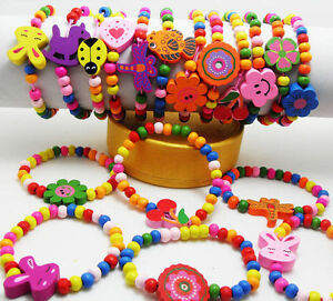 10pcs-Mixed-Wholesale-Kids-Children-Wood-Elastic-Bead-Bracelets-Colorful-Jewelry