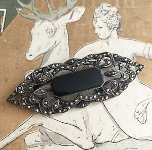 Broche-Ancienne-Art-Deco-1920-Argent-Onyx-Marcassites-Silver-French-Brooch