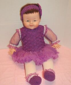 Vintage-25-034-1963-Madame-Alexander-Big-Huggums-Wears-Purple-Tutu-tights-booties