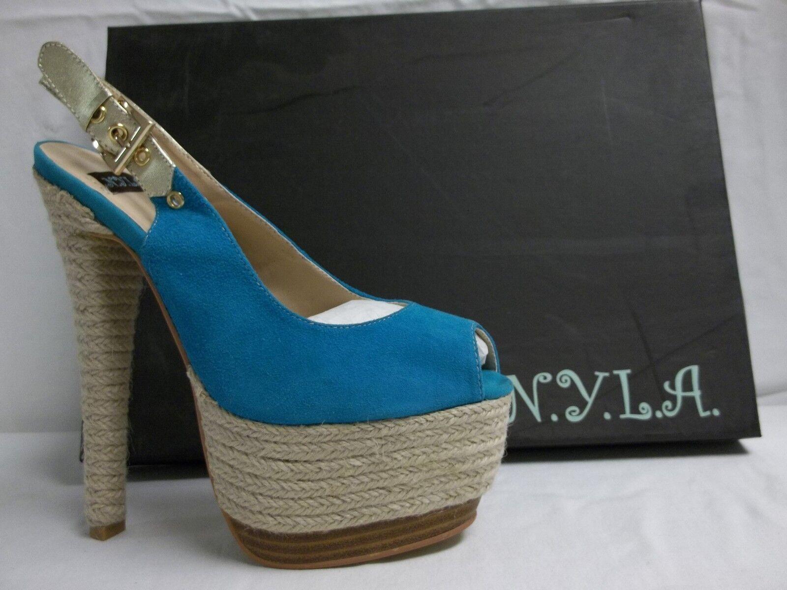N.Y.L.A. Größe 7.5 M Pearlia Blau Suede Slingbacks Heels New Damenschuhe Schuhes