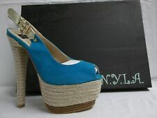 N.Y.L.A. Size 7.5 M Pearlia Blue Suede Slingbacks Heels New Womens Shoes