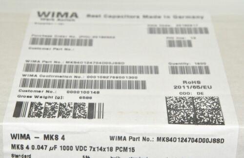 4pcs 0,047µF 470nF WIMA MKS4 0.047uF 1000V 5/% pitch:15mm Capacitor