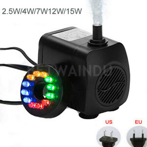 Pumps (water) 2.5w/4w/7w/12w/15w Aquarium Water Pump 220v/110v With Led Lights Eu/us Plug Pet Supplies
