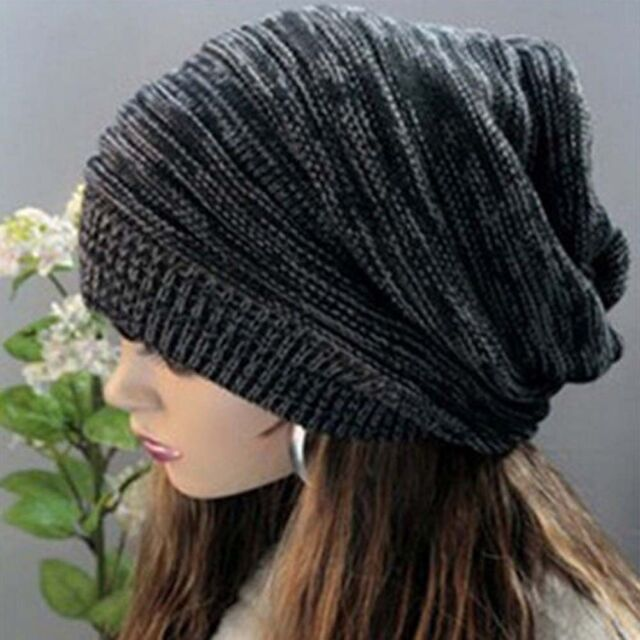 3a33340cf2622 Unisex Women Men Knit Baggy Beanie Beret Winter Warm Oversized Ski Cap Hat  ZH