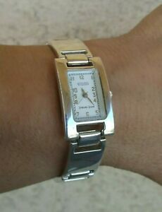 "Ecclissi Sterling Silver Tank Case Bracelet Watch Total Weight 57.7 g 7"" New Bat"