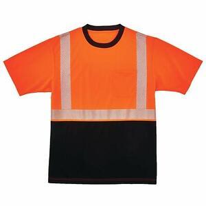 GLOWEAR-By-ergodyne-8280BK-Blk-Front-Perf-Safety-T-Shirt-M-Reflective-Orange