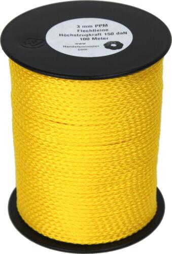3mm PPM geflochten gelb 100m Scheibenspule 150daN 150kg Polypropylen Schnur