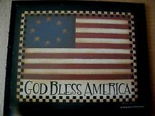 9x11 Country Primitive American Flag GOD BLESS AMERICA Patriotic Art Decor Sign