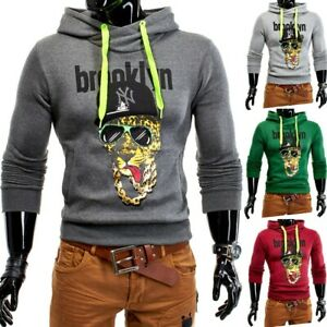 Hommes-amp-Hoodie-Sweat-a-capuche-de-base-Jacket-Pull-Tiger-Hoods