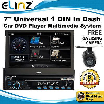 "7"" Universal 1 DIN In Dash Car DVD Player GPS MULTIMEDIA PLAYER BLUETOOTH IPOD"