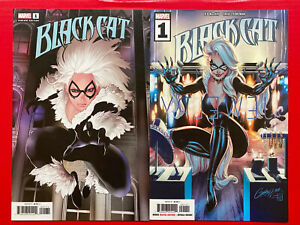 BLACK-CAT-1-Lot-of-2-Cover-A-Campbell-amp-Cover-G-Travel-Foreman-Variant