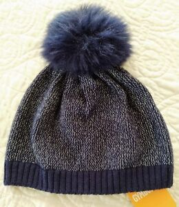GYMBOREE-GIRLS-HAT-BEANIE-POM-POM-NAVY-BLUE-SIZE-XS-S-NWT