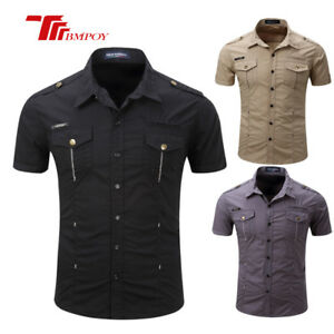 Fashion-Mens-Short-Sleeve-Casual-Shirts-Outdoor-Cotton-Slim-Fit-Dress-Shirt-Tops