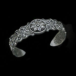 4effb12704efb Details about 18 Kt Real Solid White Gold Antique Handmade Cuff Bracelet  Bangle Men's Jewelry