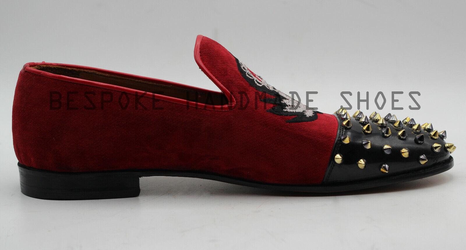 Handmade Men's Red Velvet & Black Patent Leather Spikes Embroidered Slip On shoes