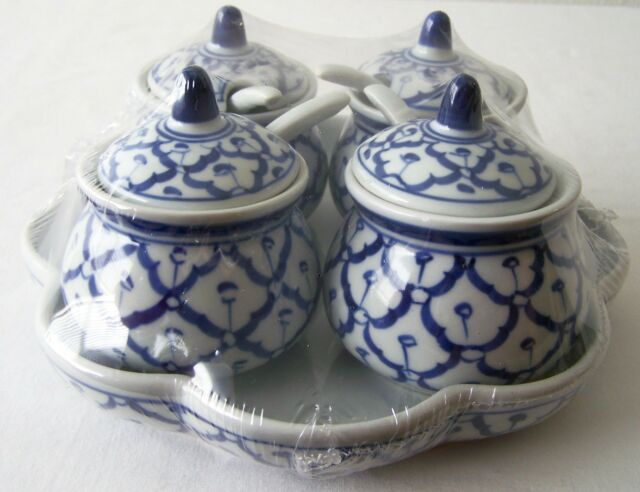 CERAMIC Condiment Tray SET Sauce 4 Containers/Spoons/Lids + Base Thai RESTAURANT