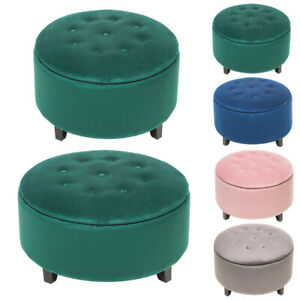 Chesterfield Storage Ottoman Chubby Footstool Coffee Table Pouffe Chair Velvet Ebay